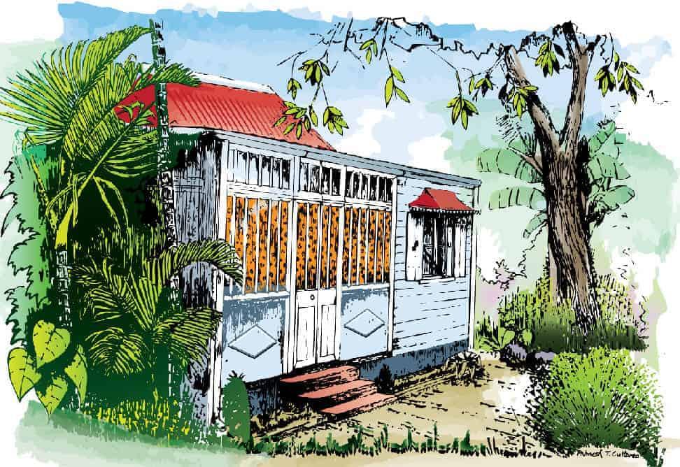Mauritius Arts & Artists - cuttart-maison-creole-enfance-painting