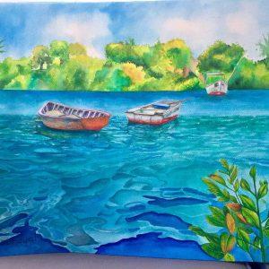 mauritian-artist-samanta-bissoondyal-ramguttee-fishing-boats-at-poste-de-flacq