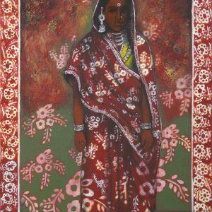nalini-treebhoobun-lady-from-bihar-mixed media-painting