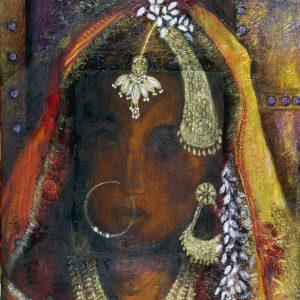 nalini-treebhoobun-muslim-bride-mixed-media-painting
