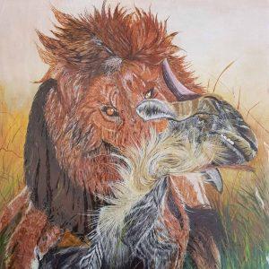 mauritius_arts_hurreeram_andhya_lion_and_the wildebeest