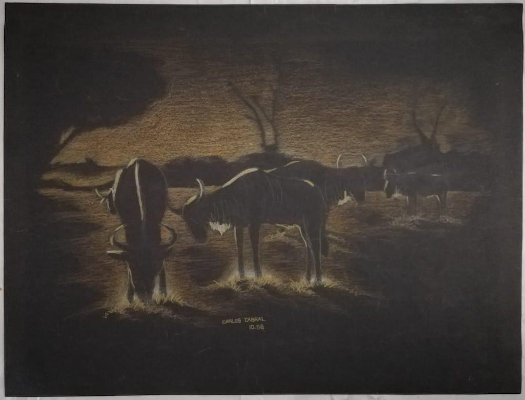 mauritius-arts-carlos-cabral-wildebeest-dusk